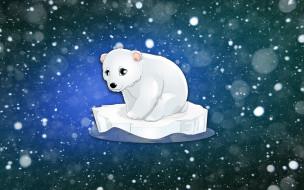 Белый медведь, Фон, Минимализм, Снег, Медведь, Зима, Льдина, Рисунок, Медвежонок