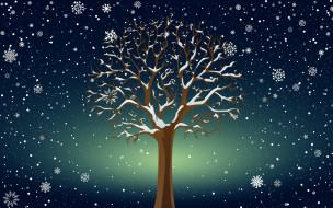 Фон, Минимализм, Снег, Зима, Дерево