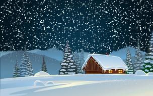 векторная графика, город , city, зима, фон, настроение, праздник, Ёлки, лес, сугробы, дом, новый, год, рождество, елки, снег