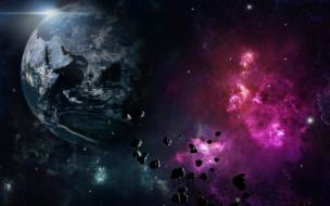 обои для рабочего стола 2560x1600 космос, арт, явление, осколки, метеориты, планета