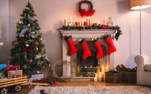 декор, елка, новый год, праздник, носки, украшения, камин