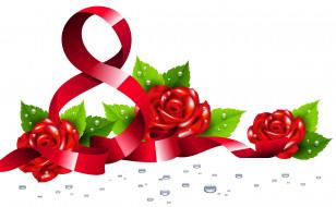 праздничные, международный женский день - 8 марта, цветы, цифра, фон, капли