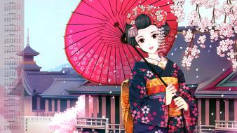 календари, аниме, 2018, кимоно, зонт, взгляд, девушка