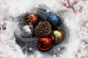 шишка, игрушки, шары, снежинки, картинка
