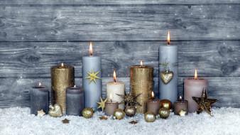 праздничные, новогодние свечи, огоньки