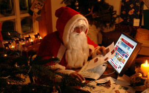 праздничные, дед мороз,  санта клаус, ноутбук, свеча, санта