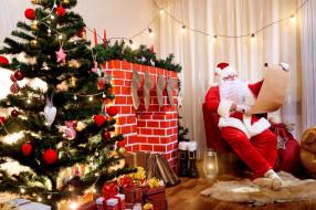 праздничные, дед мороз,  санта клаус, санта, подарки, камин, елка
