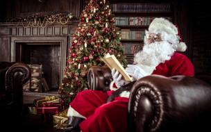 праздничные, дед мороз,  санта клаус, книга, подарки, санта, кресло, камин, елка