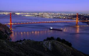 огни, панорама, мост, вечер, река
