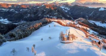 зима, панорама, костел