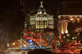 города, мадрид , испания, огни, вечер, улица