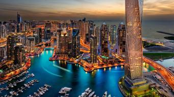 dubai, города, дубай , оаэ, небоскребы, панорама