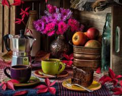 листья, букет, кофе, цветы, кружки, натюрморт, кофеварка, астры, тортик, яблоки