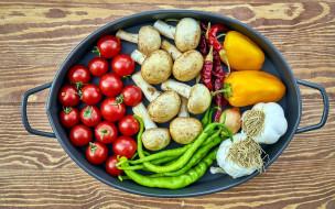 еда, овощи, помидоры, чеснок, грибы, перец