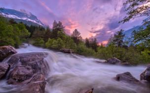 природа, реки, озера, небо, водопад, горы, деревья, камни, закат