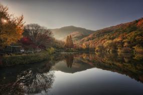 природа, реки, озера, река, отражение, горы, солнце, осень