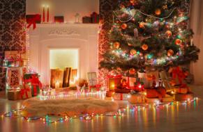 настроение, гирлянда, свечи, подарки, игрушки, елка, украшения