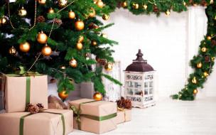 праздничные, подарки и коробочки, елка, новый, год, подарки, украшения, 2018, шишки, игрушки, шары, фонарь