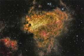 m17 nebula narrowband in tricolour, космос, галактики, туманности, галактика, пространство