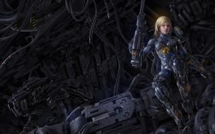 фэнтези, роботы,  киборги,  механизмы, блондинка, киборг, арт, фантастика, робот, механизмы, девушка, оружие