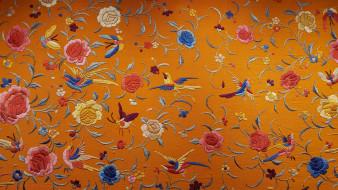 птицы, шёлк, текстура, вышивка, цветы, китайский шёлк, ткань
