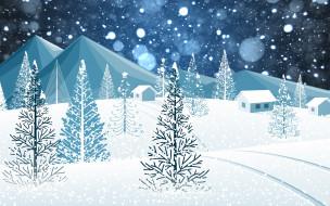 Елки, Минимализм, Праздник, Настроение, Рождество, Зима, Снежинки, Новый Год, Ёлки, Лес, Горы, Снег