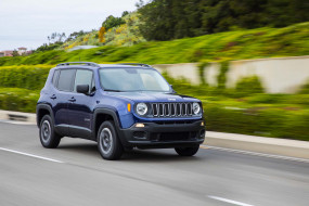 blue, Jeep, внедорожник, 2017, Renegade