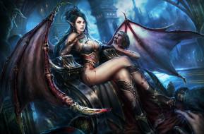 вампир, девушка, грудь, чудовище, уши, Evelyn, succubus, крылья, ноги ночь, фантазия