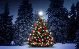 елки, Рождество, Новый Год, winter, шары, night, снег, снежинки, christmas tree, новогодняя елка, Merry Christmas, decoration, зима, snow, украшения