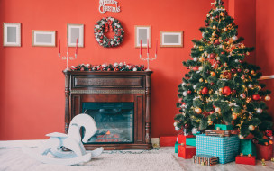 Новый Год, подарки, Christmas, decoration, камин, home, holiday celebration, украшения, interior, Merry Christmas, design, игрушки, gifts, елка, Christmas tree
