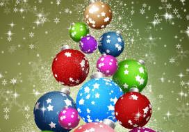 Новый год, графика, шары