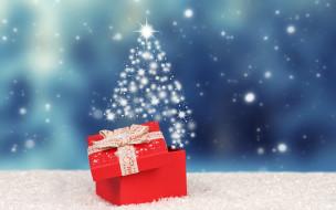 зима, подарок, новый год, снег, фон