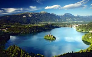 озеро, церковь, остров, панорама