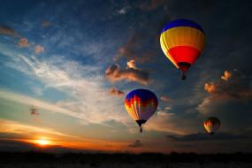 полет, шары, облака, закат