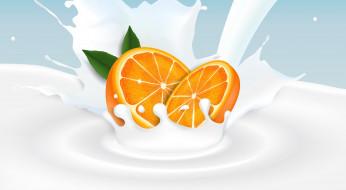 апельсин, фон, цитрус, молоко