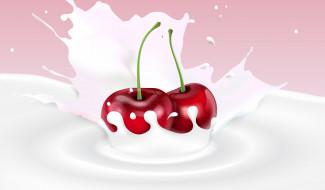 вишня, ягода, молоко, фон