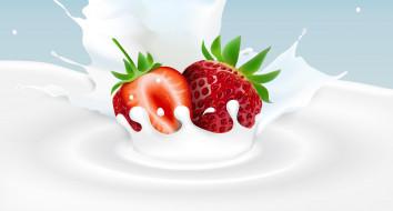 молоко, ягода, клубника, фон