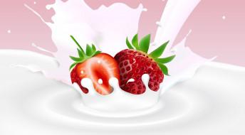 фон, молоко, клубника, ягода