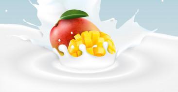манго, молоко, фон