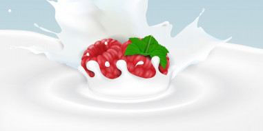 ягода-малина, малина, фон, молоко