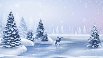 деревья, зима, олень