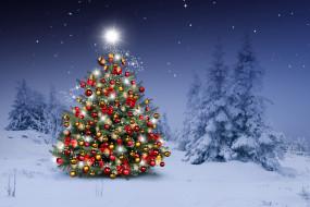 снежинки, новогодняя елка, Merry Christmas, Новый Год, winter, елки, украшения, Рождество, Xmas, snow, зима, Christmas, christmas tree, шары, night