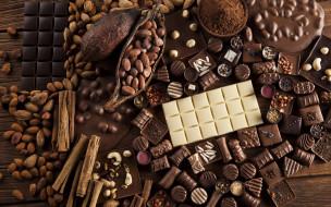 орехи, корица, конфеты, шоколад