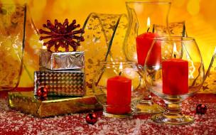 праздничные, новогодние свечи, бокалы, лента, свечи