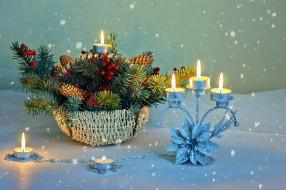 праздничные, новогодние свечи, подсвечник, огоньки, композиция, свечи