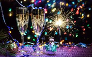 шампанское, снеговик, бенгальский, огонь