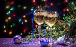 колокольчик, шампанское, шарики