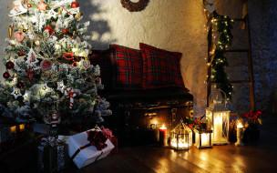 елка, подарки, фонари