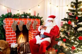 праздничные, дед мороз,  санта клаус, санта, елка, камин