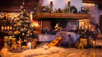 свечи, гитара, камин, елка